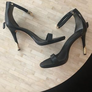 Rachel Roy black leather high heel sandal